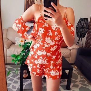 JOA coral romper dress